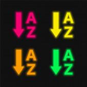 Abecední pořadí čtyři barvy zářící neonový vektor ikona
