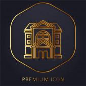Wohnung goldene Linie Premium-Logo oder Symbol