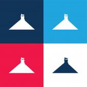 Belgium kék és piros négy szín minimális ikon készlet