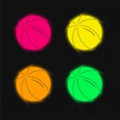 Labda négy színű izzó neon vektor ikon