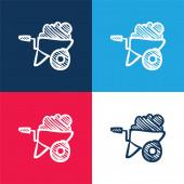 Kůra plná stavebního materiálu ručně kreslený nástroj modrá a červená čtyři barvy minimální ikona sada