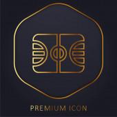 Basketball Court Golden Line Premium-Logo oder Symbol