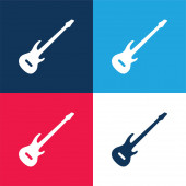 Basová kytara modrá a červená čtyři barvy minimální ikona nastavena