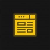 Bloggende gelbe Leuchtneon-Ikone