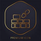 Zlatá čára cihlové zdi prémie logo nebo ikona
