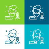 Beard Flat four color minimal icon set