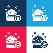 Koupání modré a červené čtyři barvy minimální ikona nastavena
