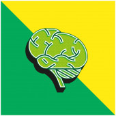 Brains Green and yellow modern 3d vector icon logo