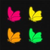 Nagy szárny pillangó négy színű izzó neon vektor ikon