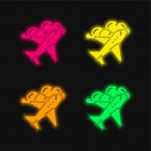 Letadlo čtyři barvy zářící neonový vektor ikona