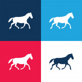 Black Race Horse Walking Pose blue and red four color minimal icon set