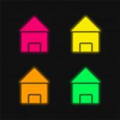 Fekete Ház négy szín izzó neon vektor ikon