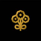 Kytice pozlacená kovová ikona nebo vektor loga
