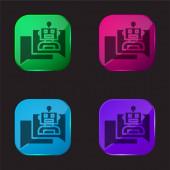 Bot čtyři barvy skleněné tlačítko ikona