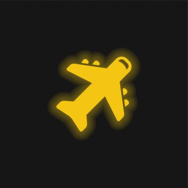 Airplane yellow glowing neon icon stock vector