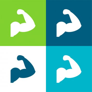 Arm Muscles Silhouette Flat four color minimal icon set stock vector