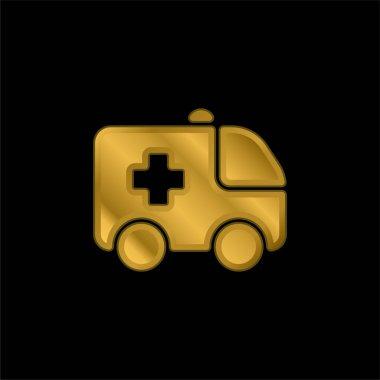 Ambülans altın kaplama metalik simge veya logo vektörü
