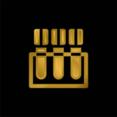 Blood Test gold plated metalic icon or logo vector stock vector