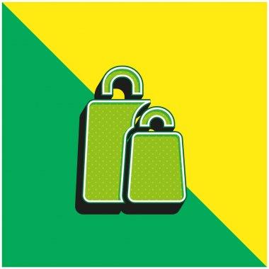 Bags Green and yellow modern 3d vector icon logo stock vector