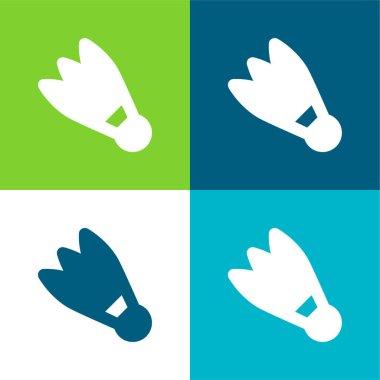 Badminton Cork Flat four color minimal icon set stock vector