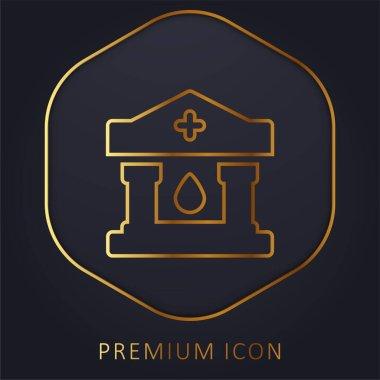 Blood Bank golden line premium logo or icon