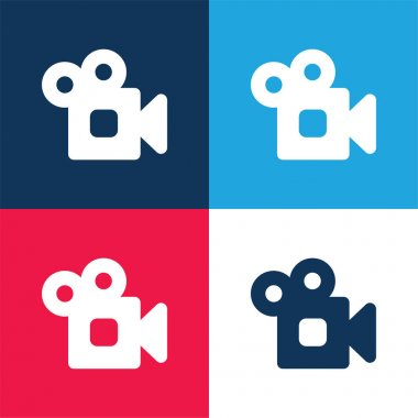 Analogic Video Camera blue and red four color minimal icon set stock vector