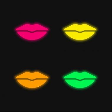 Big Lips four color glowing neon vector icon stock vector