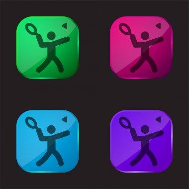 Badminton four color glass button icon stock vector