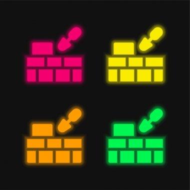 Brick Wall four color glowing neon vector icon stock vector