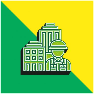 Architecture Green and yellow modern 3d vector icon logo