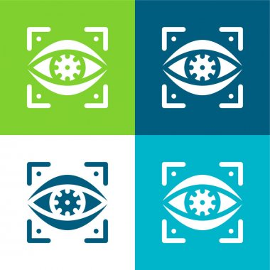 Bionic Eye Flat four color minimal icon set