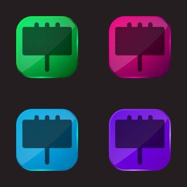 Billboard dört renkli cam düğme simgesi