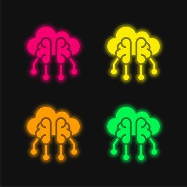 Brain four color glowing neon vector icon stock vector