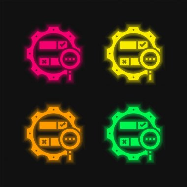 Boolean Search four color glowing neon vector icon stock vector