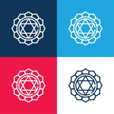 Anahata blue and red four color minimal icon set stock vector