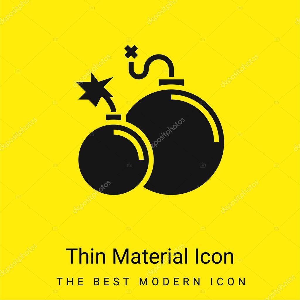 Atomic Bomb minimal bright yellow material icon stock vector