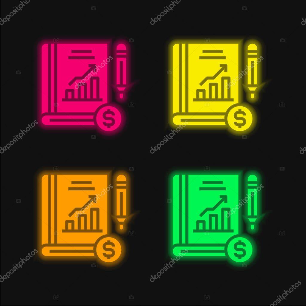 Book four color glowing neon vector icon stock vector