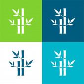 Bambusz Növények Spa Lakás négy szín minimális ikon készlet