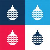 Bauble kék és piros négy szín minimális ikon készlet