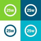 25 Watts Lamp Indicator Flat four color minimal icon set