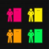 Testőr négy színű izzó neon vektor ikon