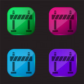 Barrier four color glass button icon