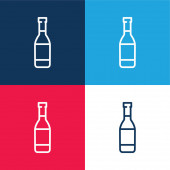 Pivo láhev modrá a červená čtyři barvy minimální ikona nastavena