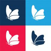 Nagy szárny pillangó kék és piros négy szín minimális ikon készlet