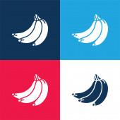 Bananen blau und rot vier Farben minimales Symbol-Set