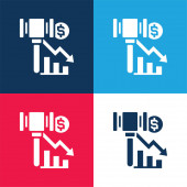Konkurs blau und rot vier Farben minimales Symbol-Set