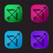 Íj és nyíl négy színű üveg gomb ikon