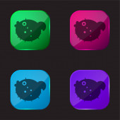Blowfish four color glass button icon