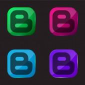 Blogger Logotyp vier Farben Glas-Taste-Symbol
