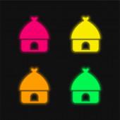 Afrikai négy színű izzó neon vektor ikon